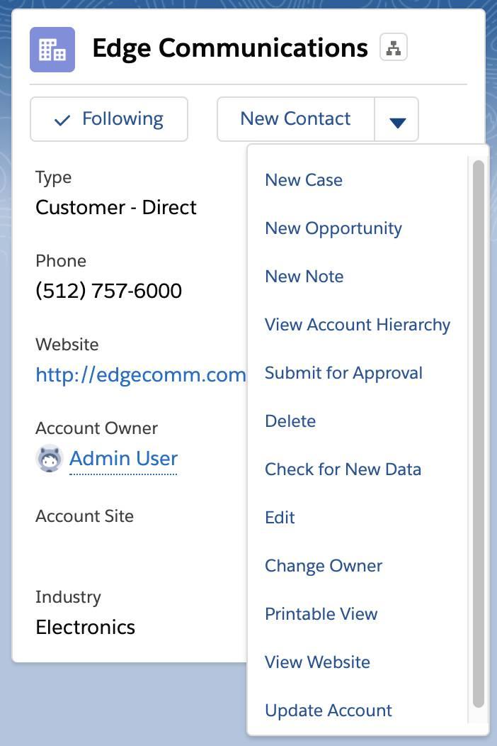 [Update Account (取引先を更新)] が、選択可能なオプションに追加されました。
