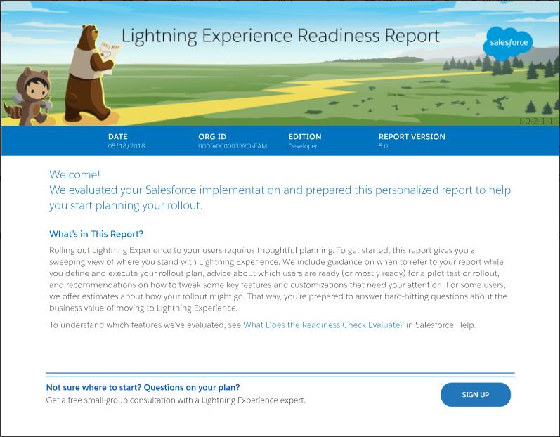 準備状況レポート。Lightning Experience に切り替える環境の準備状況を確認できます。