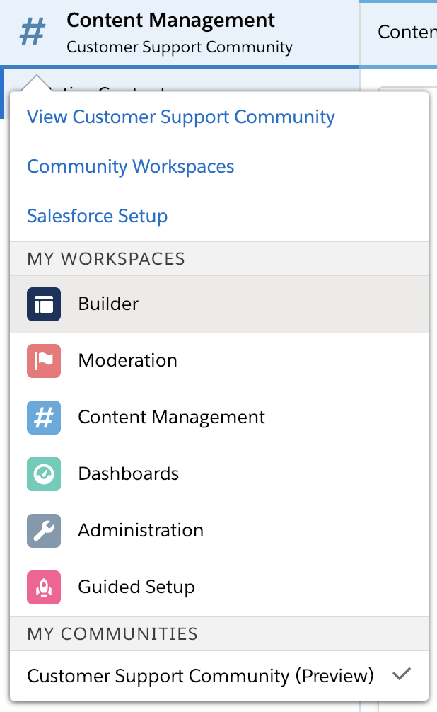 Community selector menu with Builder option highlighted