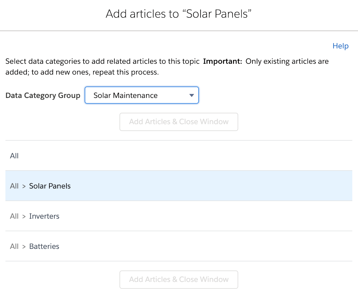 Add articles to Solar Panels screen with All > Solar Panels highlighted.