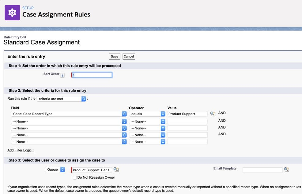 Create and customize a Case Assignment Rule by entering the rule details.
