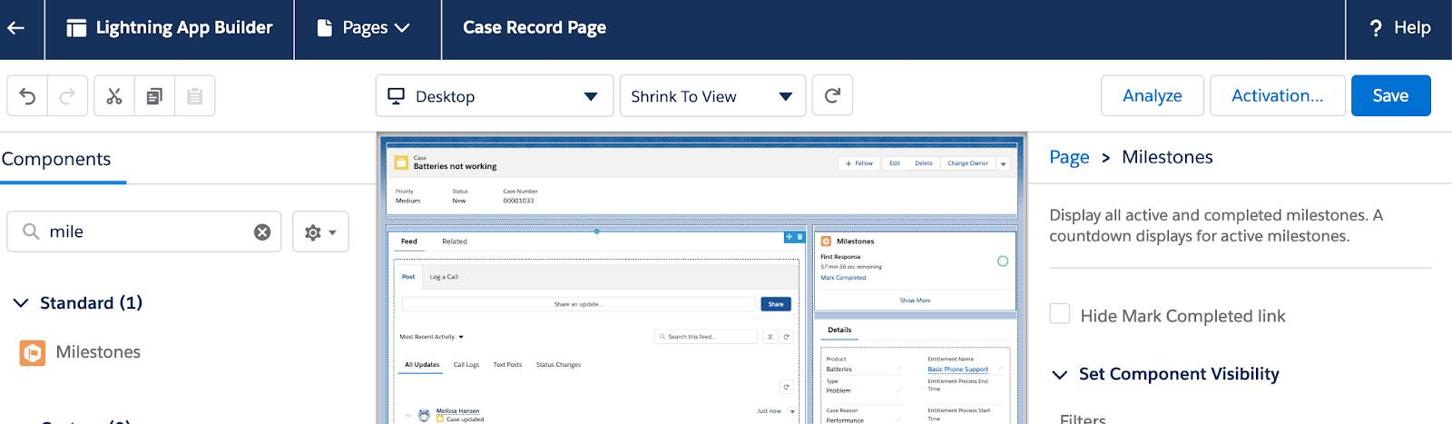 Edit the Case Page and Add the Milestone Tracker Component to view your milestone timelines on the case record page.