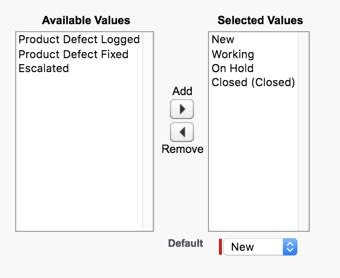 Customize the Inquiry case status picklist values to include New, Working, On Hold, and Closed.