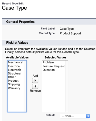 Customize the product support case type picklist values for Product Support cases.