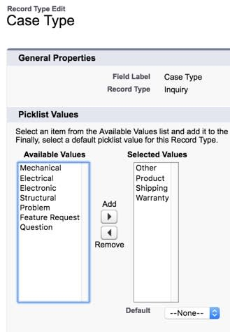 Customize the inquiry case type picklist values for inquiry cases.