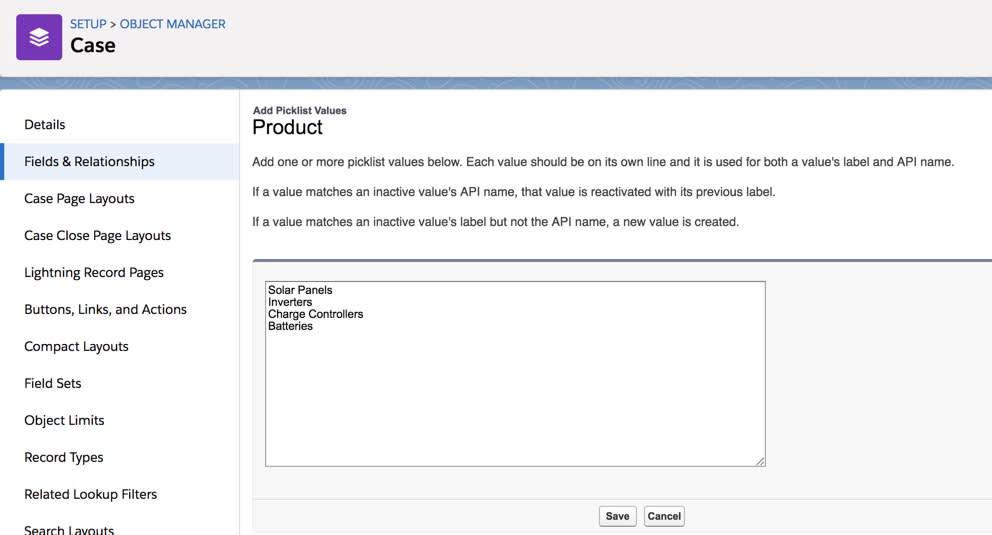 Add product picklist values for Product Support cases
