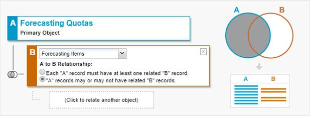 Report records set showing object relationships.
