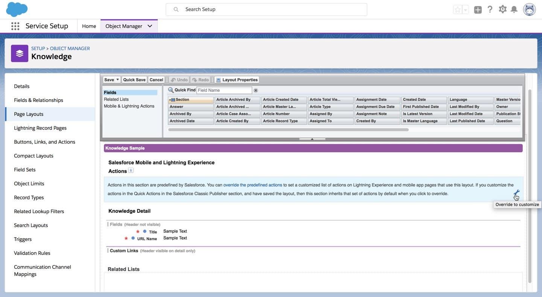[How To (方法)] ページレイアウト。[Salesforce Mobile and Lightning Experience Actions (Salesforce モバイルおよび Lightning Experience のアクション)] セクションにレンチアイコンが示されています。