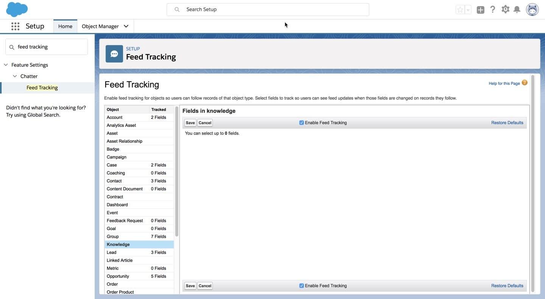 フィード追跡の設定。ナレッジでフィード追跡が有効になっていることが示されています。