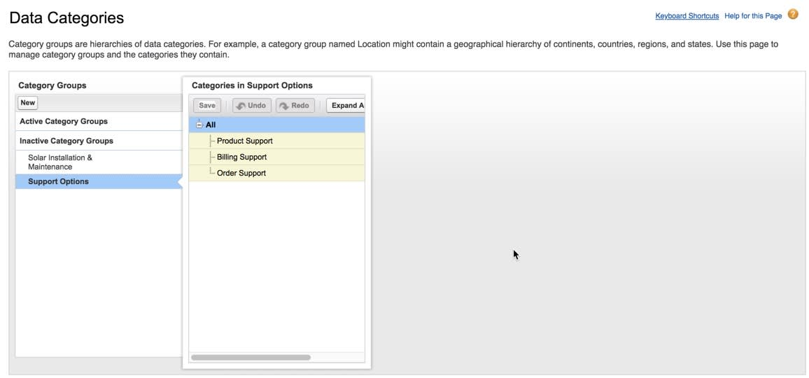 Support Options group showing three data categories added to it.