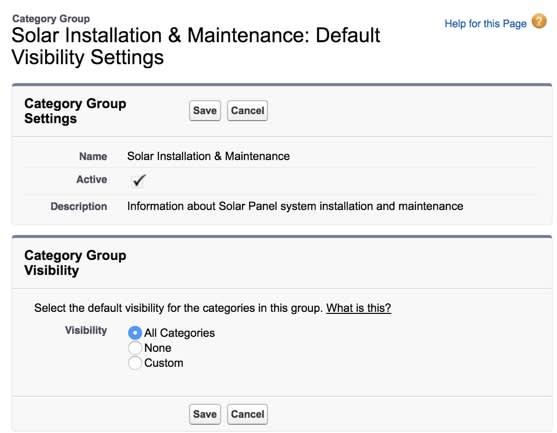 Set default data category visibility