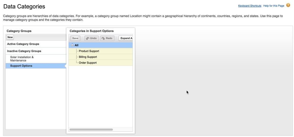 [Support Options (サポートオプション)] グループ。追加された 3 つのデータカテゴリが表示されています。