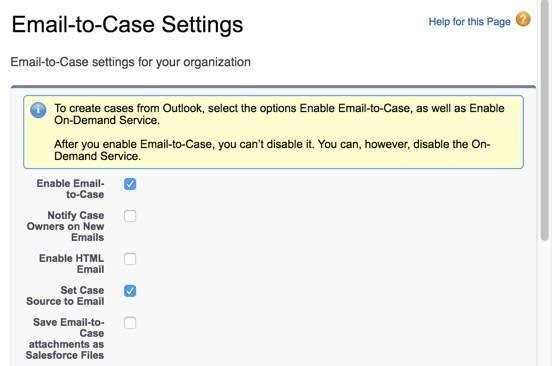 [Enable Email-to-Case (メール-to-ケースの有効化)] チェックボックスがオンであることを示すスクリーンショット