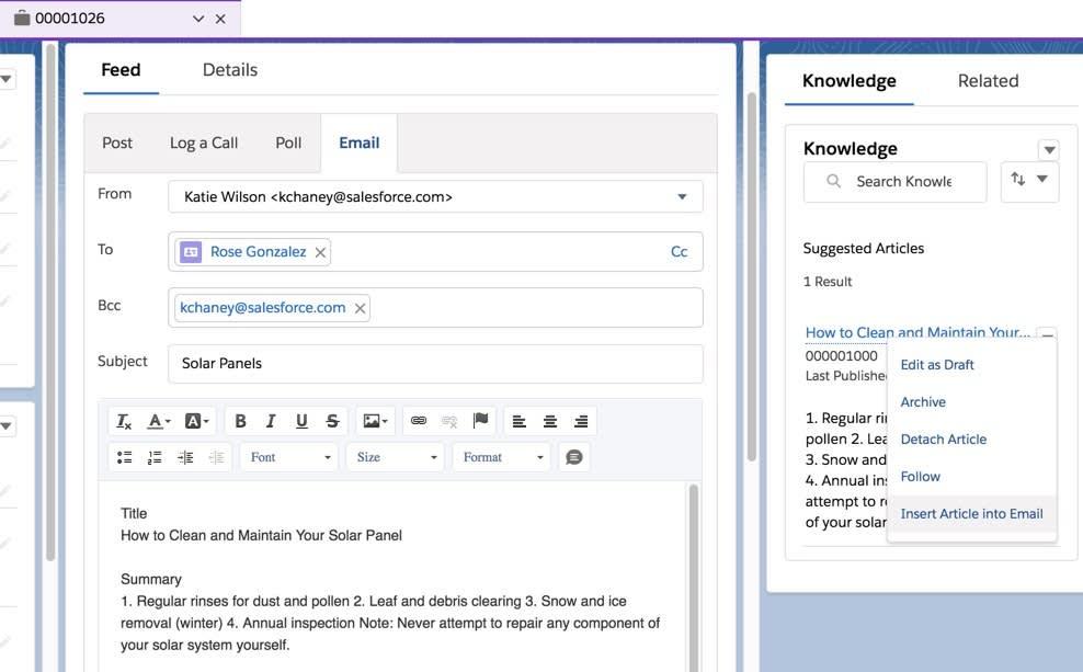 メールに添付されたナレッジ記事の例
