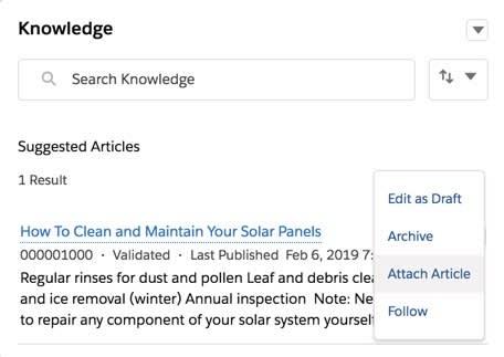 [Knowledge (ナレッジ)] コンポーネント。オプションのドロップダウンの [Attach Article (記事を添付)] が強調表示されています。