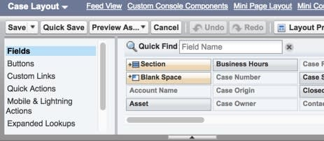 ケースレイアウトのオプション。[Feed View (フィードビュー)] リンクが表示されています。