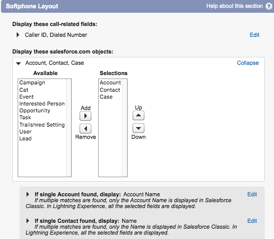 Customize the salesforce.com objects displayed for the Softphone Layout. Replace the Lead object with the Case object.
