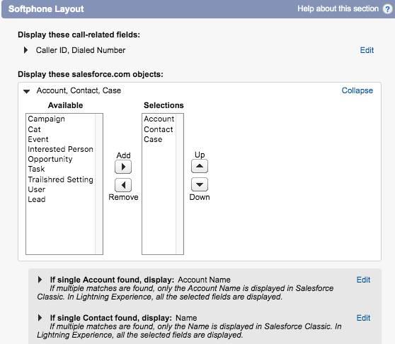 ソフトフォンレイアウトに表示する Salesforce オブジェクトをカスタマイズします。[Lead (リード)] オブジェクトを [Case (ケース)] オブジェクトに置換します。
