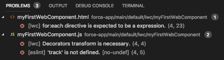 Problems tab in Visual Studio Code with multiple errors displayed
