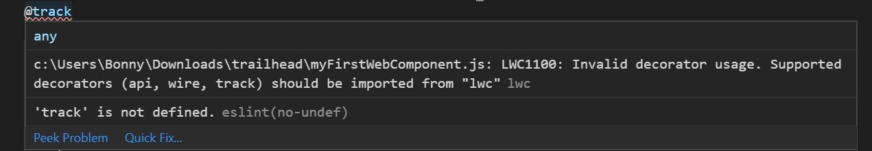 """Hover window with error messages: """"Decorators transform is necessary"""" and """"'track' is not defined.'"""""""