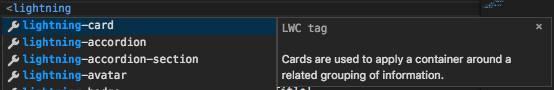 Fenêtre IntelliSense affichant une liste de composants Lightning de base