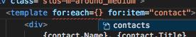 インテリセンスウィンドウに表示された HTML マークアップ