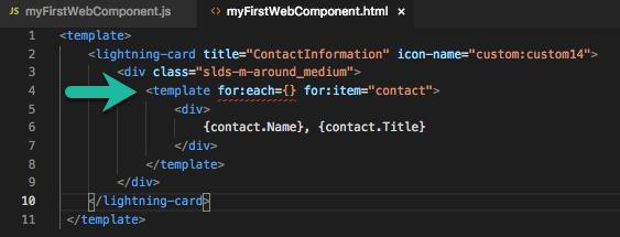 HTML テンプレートファイルが開き、4 行目のエラーが強調されている