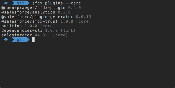 Terminal output of Salesforce CLI plugins.