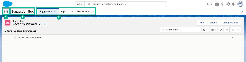 Captura de tela do aplicativo Caixa de sugestões com caixas verdes em torno do ícone do Iniciador de aplicativos, do nome do aplicativo e do menu de navegação