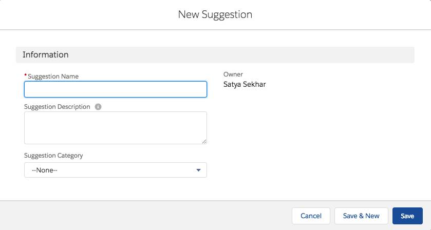 Screenshot of the New Suggestion box
