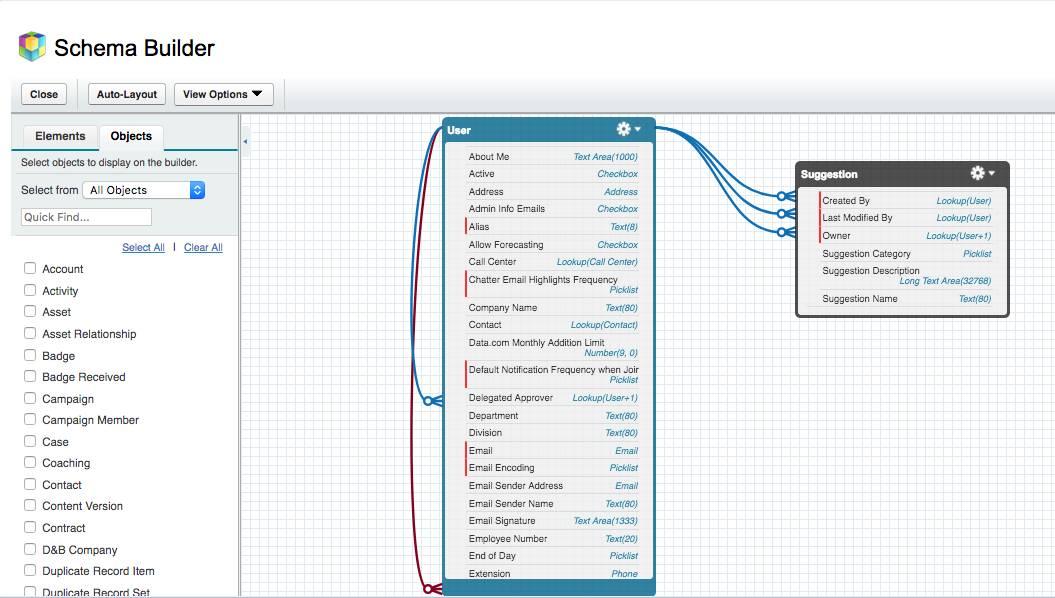 Screenshot of the Schema Builder