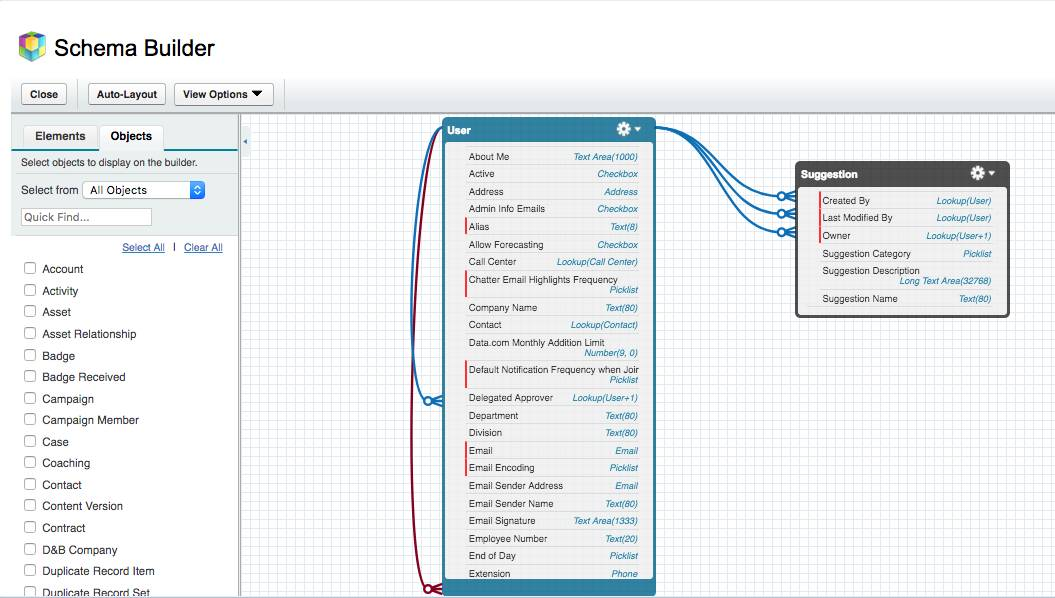 Screenshot of the Schema Builder
