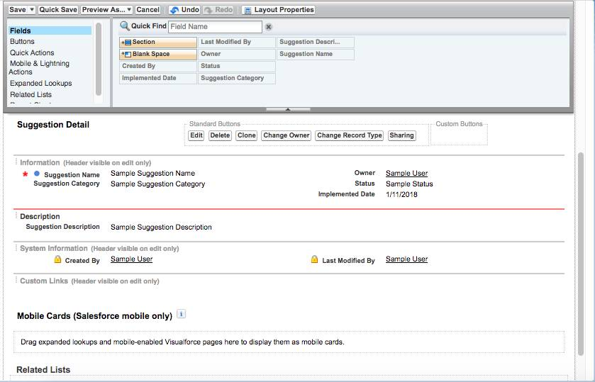 Screenshot of the Suggestion object screen with Fields highlighted and showing Suggestion Detail information