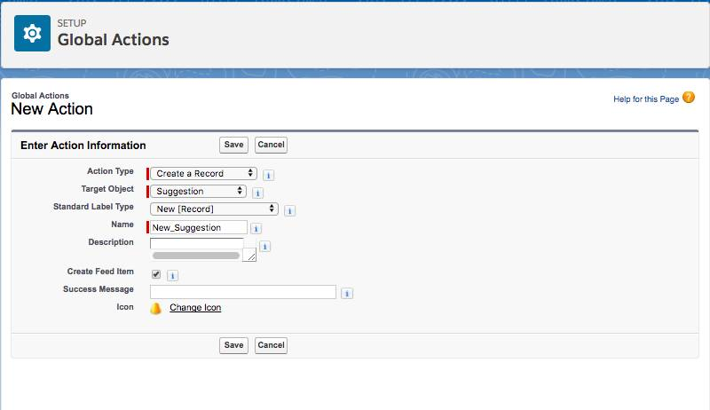 Screenshot of the Setup Global Actions screen where you can create a new action