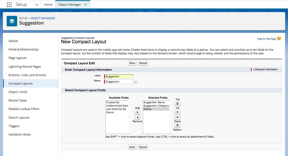 Screenshot of the Compact Layouts screen where you can create a new Compact Layout