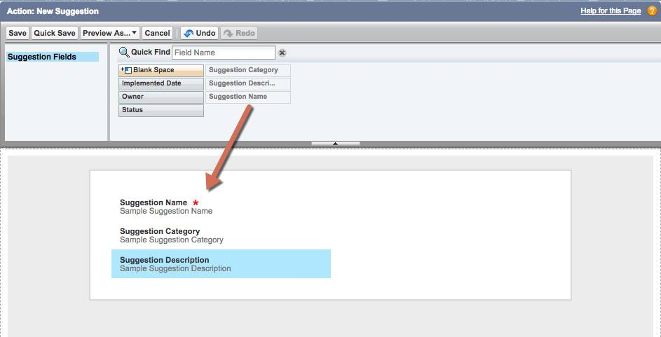 [Action: New Suggestion (アクション: 新規提案)] 画面のスクリーンショット。説明項目に [Suggestion Category (提案のカテゴリ)] と [Suggestion Description (提案の説明)] が追加されています。