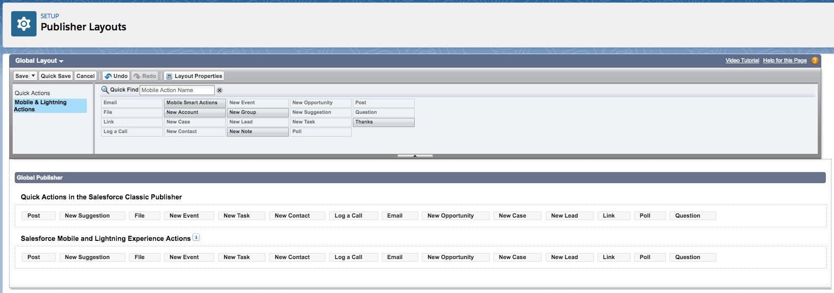 Captura de tela de Publisher Layouts (Layouts do editor) com Mobile and Lightning Actions (Ações do Mobile e do Lightning) em destaque.