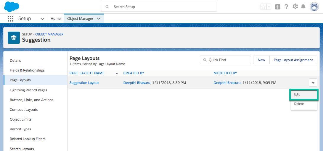 Captura de tela da seção Layouts de página do objeto Sugestão