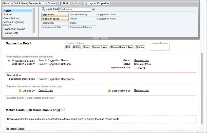 Captura de tela do objeto Sugestão com Campos em destaque e mostrando informações de detalhes da sugestão