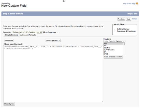 [New Custom Field (新規カスタム項目)] 画面のスクリーンショット。タイトルに [Step 3: Enter Formula (ステップ 3: 数式の入力)] と表示されています。