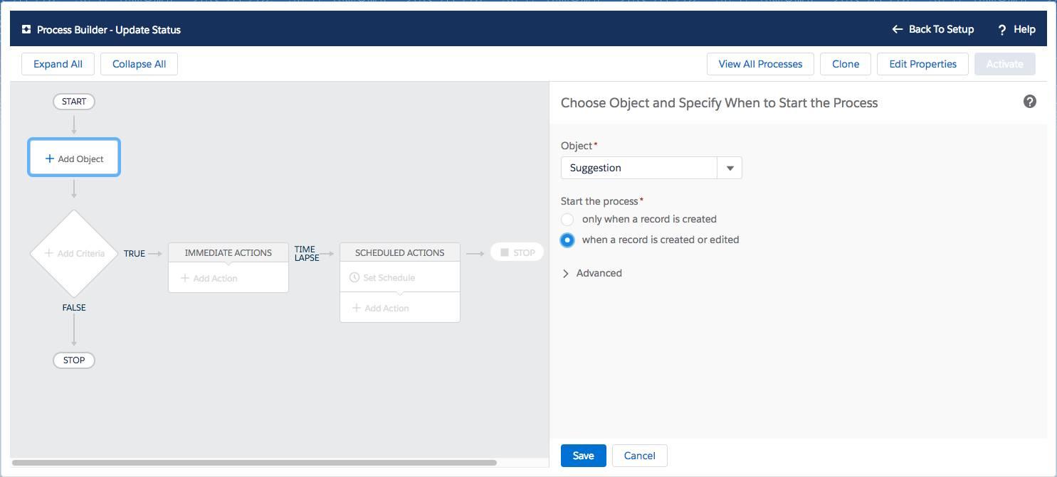 プロセスビルダーの [Update Status (状況の更新)] 画面のスクリーンショット。[Choose Object and Specify When to Start the Process (オブジェクトを選択してプロセスを開始するタイミングを指定)] オプションが表示されています。