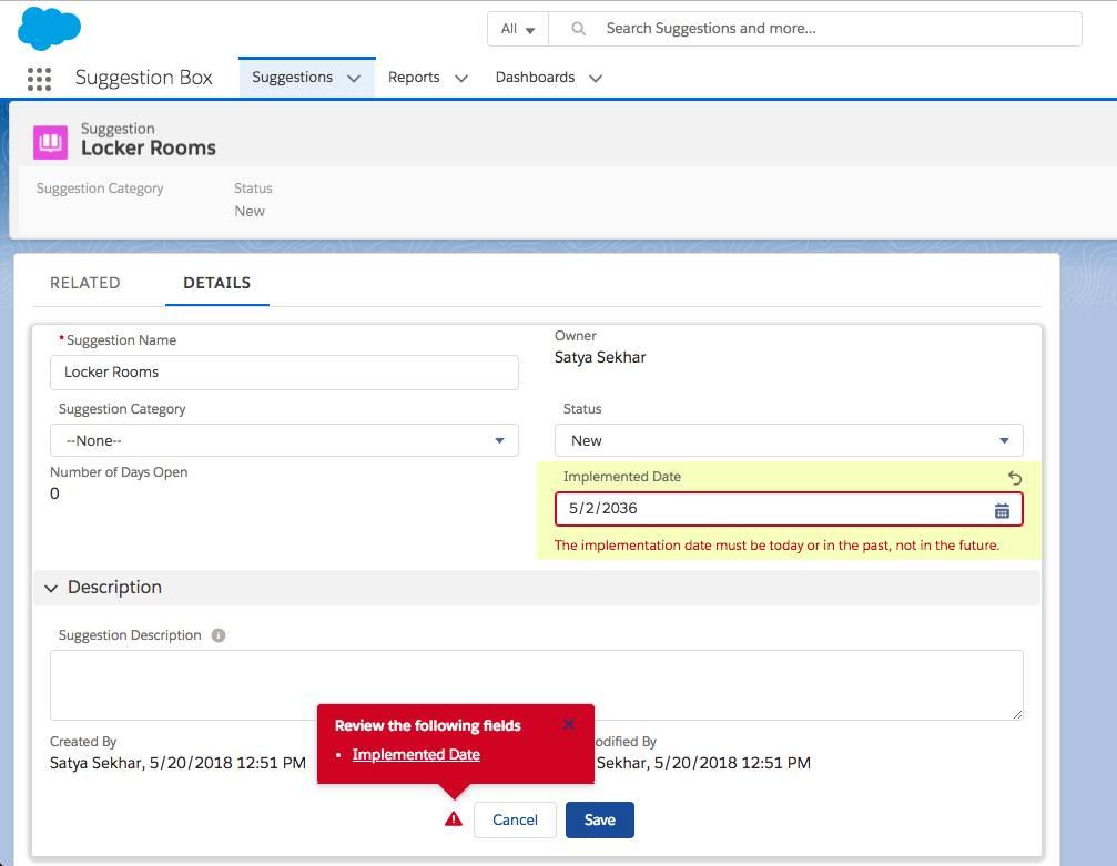 Captura de tela do registro da sugestão Vestiários mostrando uma entrada de data incorreta. A mensagem de erro diz que a data precisa ser hoje ou anterior, não posterior