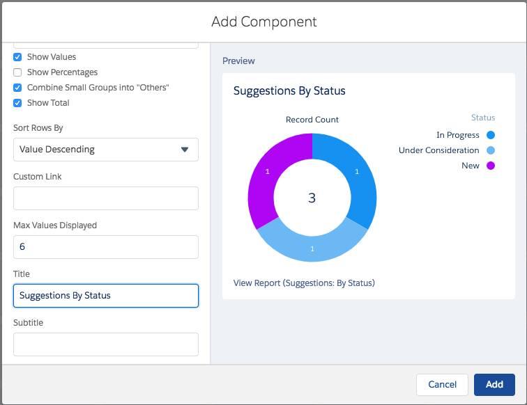 [Suggestions By Status (状況別の提案)] レポートの [Add Component (コンポーネントの追加)] 画面のスクリーンショット