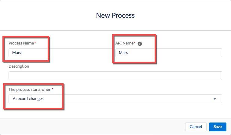 新規プロセスの作成を示すスクリーンショット