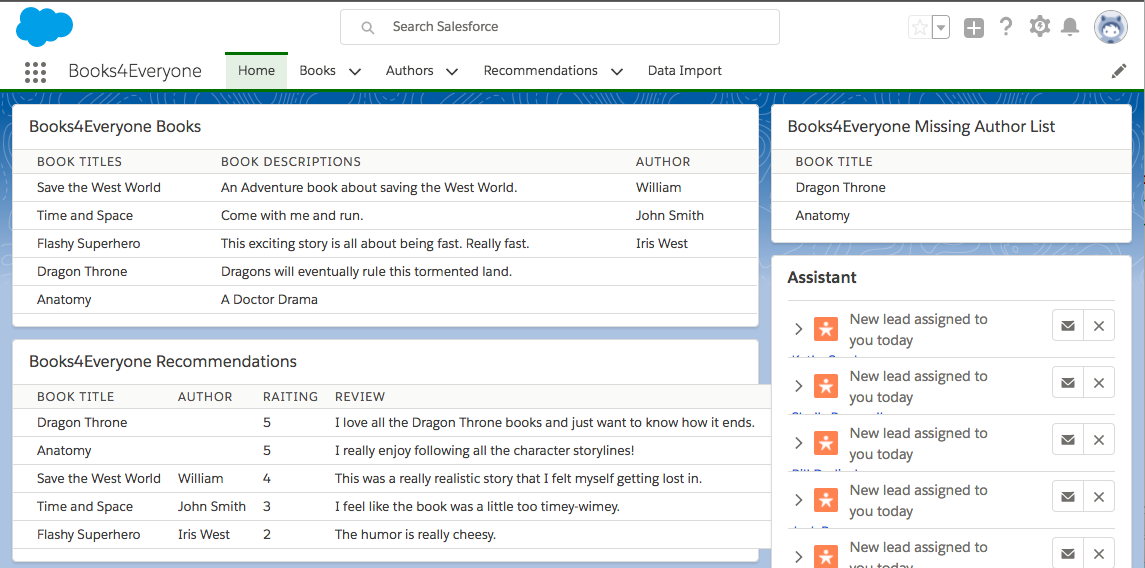 Add Author Data to Your Book Ratings Component Unit | Salesforce