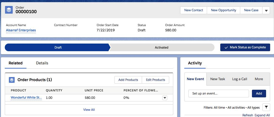 Order details view displaying the current order product.