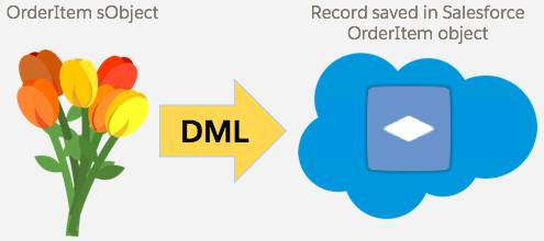 A bouquet of flowers labeled OrderItem sObject with an arrow labeled DML pointing to an OrderItem icon within a cloud labeled Record saved in Salesforce OrderItem object.