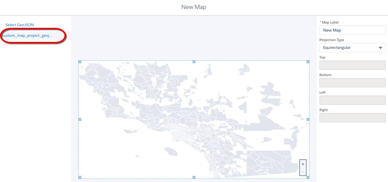 Select the geoJSON file, boundaries, label, and projection type for the new map.