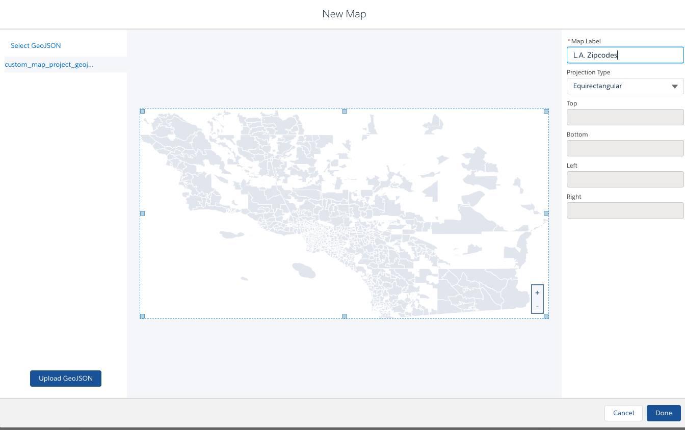 ロサンゼルスの地図が Equirectangular 投影法を使用して表示されます。