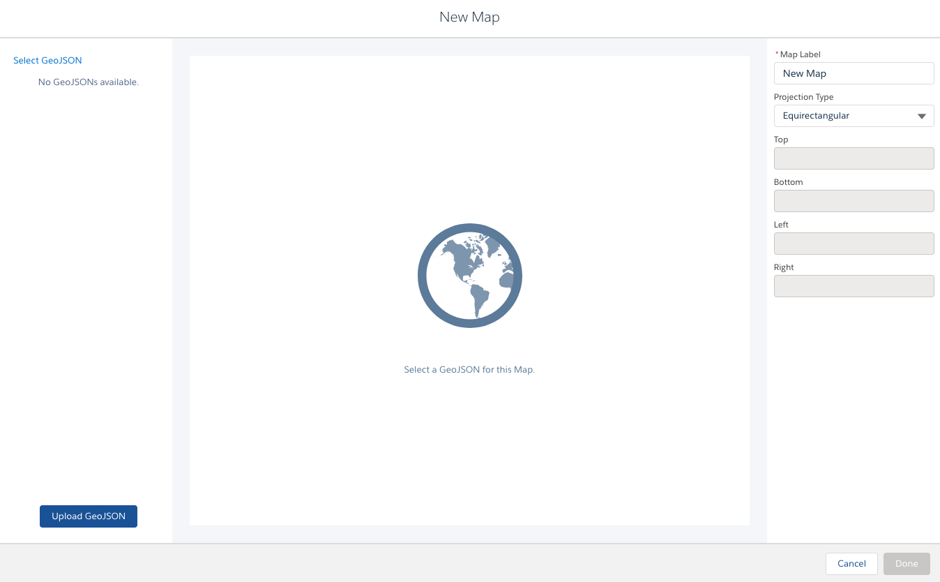 新しい地図の GeoJSON ファイル、境界、表示ラベル、投影法の種類を選択します。